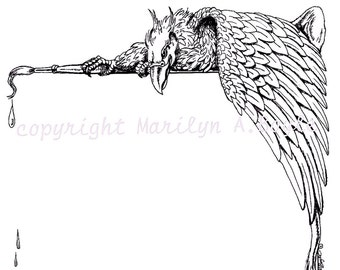 DIGITAL BORDER - GRYPHON; fantasy, pen and ink, from an original drawing, paintbrush,