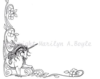 DIGITAL BORDER - UNICORN; fantasy, digital download, flourishes, pen and ink, from an original drawing