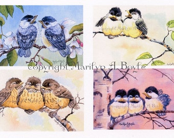 SET of FOUR ACEO cards; baby birds, limited edition set of ten, 90 lb watercolor paper, wings, feathers, song birds, nature, flowers,