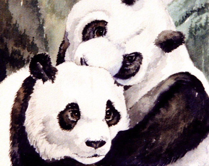 HAND MADE SPIRITUAL Card; greeting card, blank card, from my own original art, approximately 5 x 7 inch with envelope, panda bears