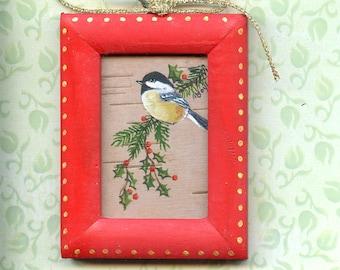 CHRISTMAS TREE ORNAMENT; hand painted, chickadee, wood frame, original art, on birch bark, fancy hook. miniature art