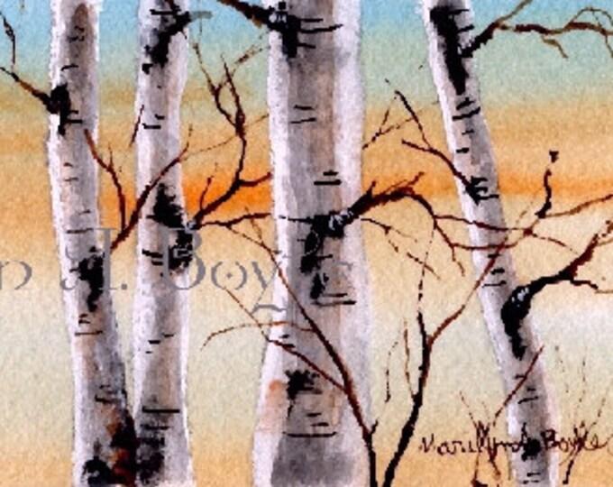 WATERCOLOR SCENE - 20% off.   ORIGINAL; skyline, birch grove, dawn, wall art, original art, miniature art, 2.5 X 8.5 inches