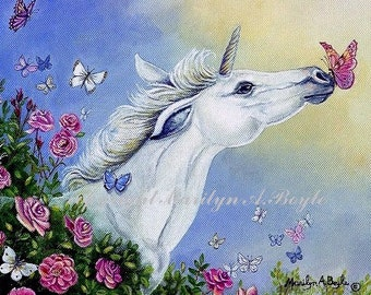 BUTTERFLY KISSES UNICORN; baby unicorn with butterflies and roses, fantasy, print, butterfly kissing muzzle, wall art