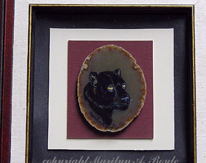 HAND PAINTED AGATE - Framed, black panther, square wood frame, one of a kind, wall art,  8 x 8 inches framed,