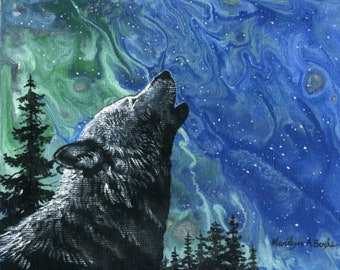 ORIGINAL PAINT POUR, 5 x 7 inches, enhanced with wolf howling and trees, wall art, nature, wildlife, Canadian Art, northern lights,
