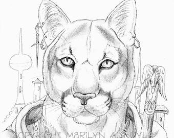 PRINT - DRAWING - FANTASY;  anthro cougar, wall art,. pencil, character portrait, original,
