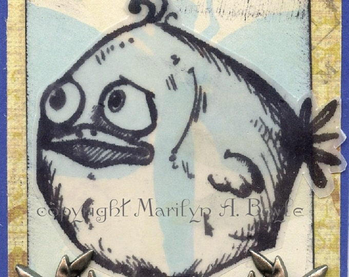 ACEO CARD-ORIGINAL; one of a kind, artist's trading cards, 2.50 x 3.50 inches, crazy bird, collage, original card