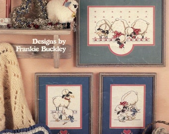 CROSS STITCH LEAFLET; cute sheep, 4 designs, Three's Company, by Frankie Buckley, fair condition, vintage 1986, color charts