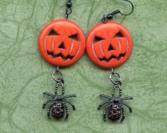 HALLOWEEN EARRINGS - SPIDERS and Pumpkins, on black shepherd hooks, great to wear in October