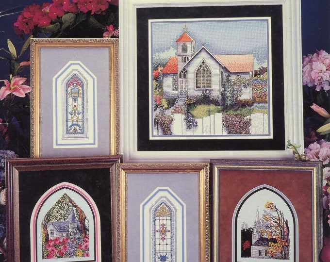 COUNTED CROSS STITCH; large leaflet, churches, 20% off, 7  black and white charts, 5 churches and 2 windows, year 1996, Vintage
