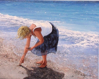 ORIGINAL ACRYLIC PAINTING; Canadian art, wall art, girl, shell picker. seashore, beach, seashells, 24 x 36 inches, gallery wrapped canvas,