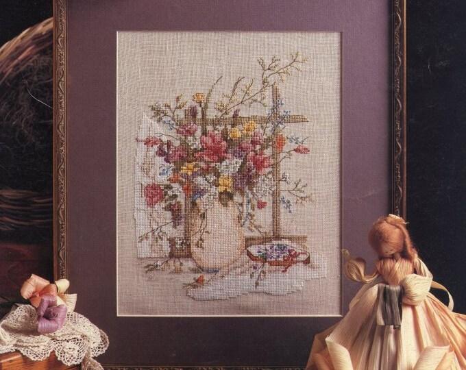 CROSS STITCH LEAFLET; Victorian Bouquet, by Paula Vaughan, Vintage 1987, fair condition, Leisure Arts, color chart
