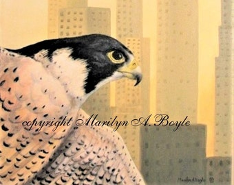 PEREGRINE FALCON - ORIGINAL acrylic painting, 11 x 14 inches, wrap around canvas, wire, ready to hang, wall art, Canadian art, bird of prey