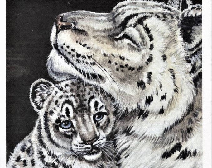 PRINT- SNOW LEOPARD; hand enhanced print, wall art, snow leopard and kit, a mother's love, 8 x 10 inches,