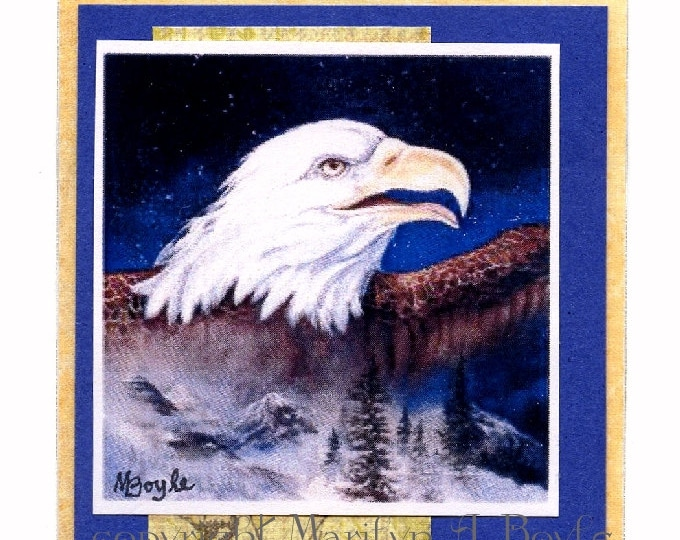 ACEO CARD - PRINT; one of a kind, eagle, from one of my paintings, collage,