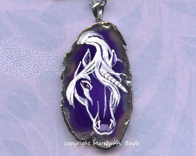 HAND PAINTED AGATE Pendant; Unicorn, royal purple, wearable art, 20 inch silver metal chain,