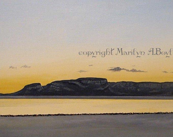 ORIGINAL PAINTING- ACRYLIC; Free shipping, rock formation Thunder Bay, wall art, Canadian art, scene, lake, sleeping giant, dawn of 2000,