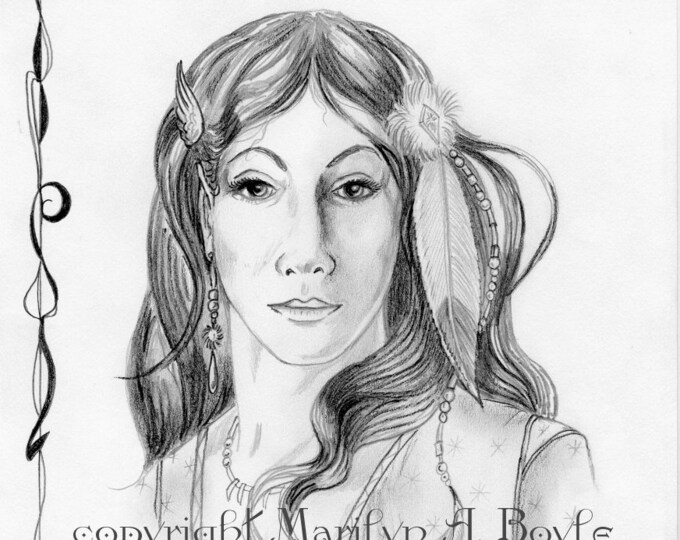 ORIGINAL PENCIL DRAWING; fantasy, elf maid, wall art, graphite, character portrait,