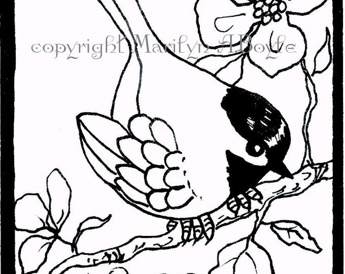 ORIGINAL ACEO CARD - pen and ink; coloring card, 2.50 x 3.20 inches, trading card, chickadee, apple blossoms, miniature, wings,featherr
