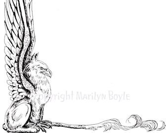 DIGITAL BORDER - GRYPHON; fantasy, digital download, fatasy beast, pen and ink, from an original drawing,