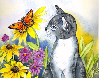 CUSTOM ORDER MAT - Cat; print on watercolor paper, can be personalized, flowers, butterflies, hand painted on mat, one of a kind print