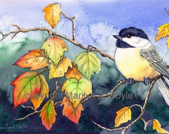 PRINT-CHICKADEE and LEAVES; autumn leaves, wall art, from an original watercolor painting of mine, 8 x 10 inches, fall colors,