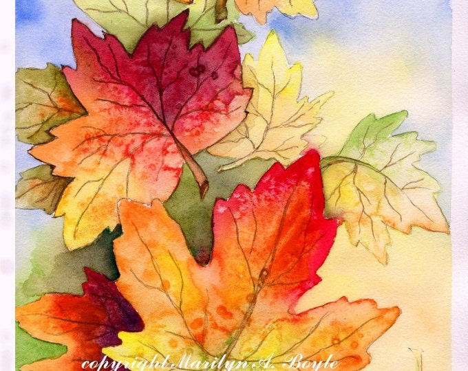 LEAVES - ORIGINAL WATERCOLOR; wall art, autumn leaves, falling leaves, Canadian art, 8 x 10 inches