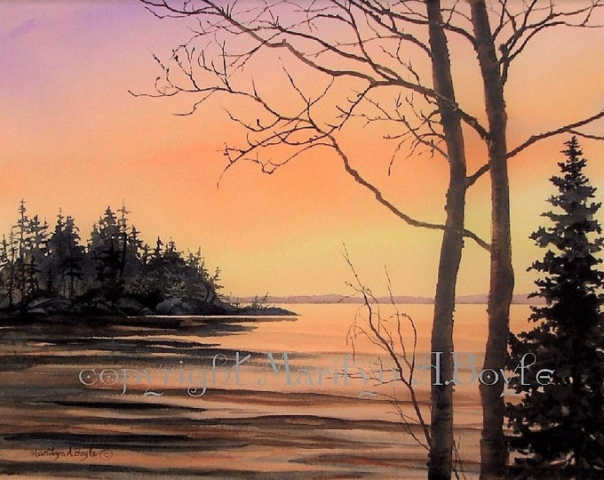 ORIGINAL WATERCOLOR PAINTING, Canadian art,wall art,sunset on the lake, island,nature,wilderness, original art,