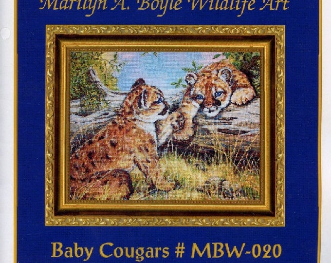 COUNTED CROSS STITCH Kit; Cougar cubs, my art work, wildlife, big cats, all threads, chart and needle,