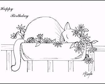 SET of COLORING CAT Cards; pen and ink original drawings,coloring birthday cards, adult & children coloring, original art,