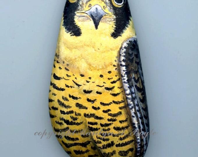 HAND PAINTED STONE; Peregrine Falcon, bird of prey, wildlife, nature, narural Lake Superior Stone,