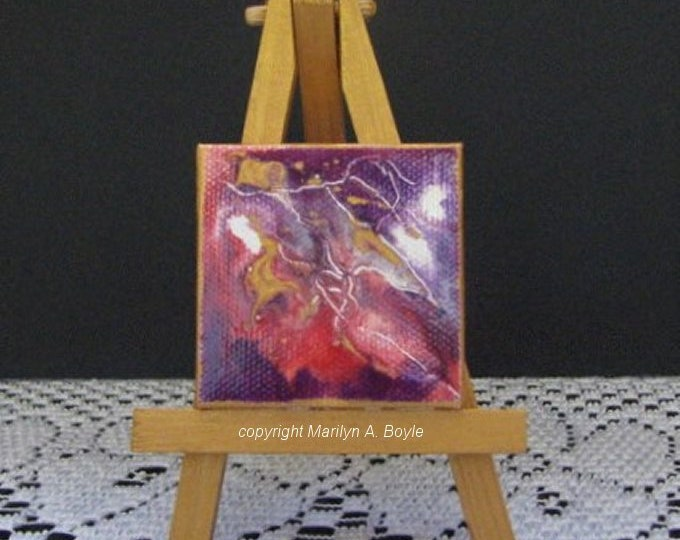ORIGINAL ACRYLIC PAINTING; miniature painting, on wood easel, great for doll house, 2 x 2 inch canvas
