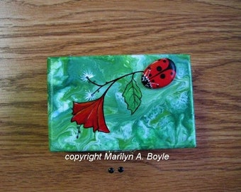HAND PAINTED BOX, Jewelry or Treasure box, paint pour, stone lady bug, hand painted flower, one of a kind