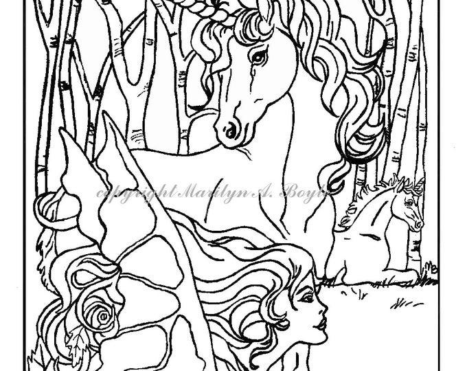COLORING BOOK - five PAGES, fantasy, pegasus, unicorns, maiden, fairy horse, fairy,  flowers, original art,