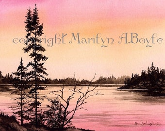 ORIGINAL WATERCOLOR SCENE; sunset, lake, nature, Canadian art, wall art,