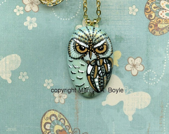 OWL PENDANT- PAINTED; fused glass, original art, metallic gold color eyes wings, wearable art, 22 inch chain, 2 inch extender, hand painted