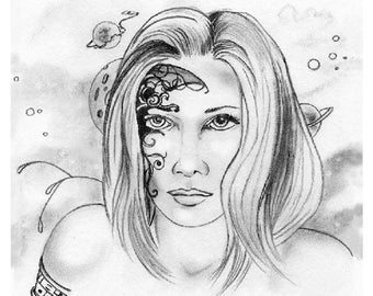 PRINT - DRAWING - FANTASY; Sci - Fi;  lady, bionic, drawing, from original pencil, art, wall art, character portrait, avatar,