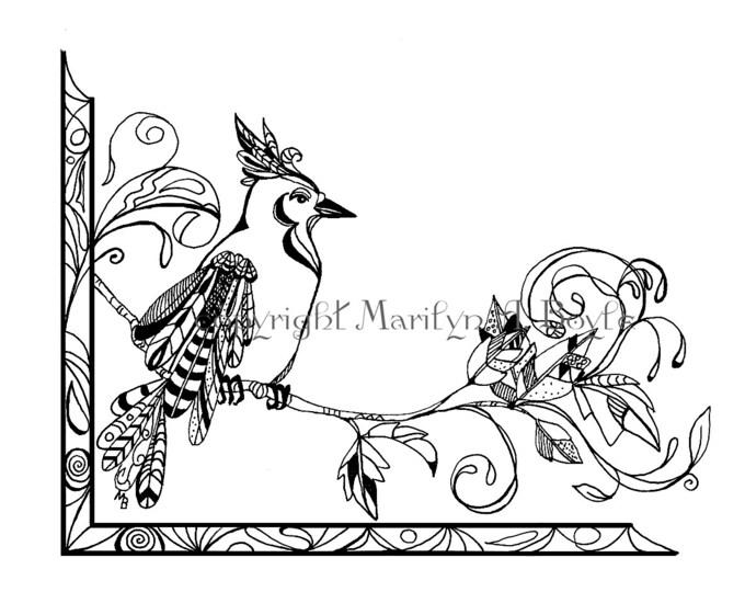 COLORING PAGE - DIGITAL download, bluejay, branch, leaves, Zentangle, doodle, pen and ink, original art,