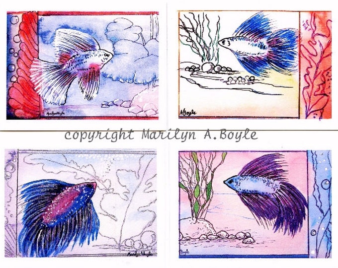 ACEO FOUR CARD Set - Betas, fish, Siamese fighting fish, sparkles, metallic ink, miniatures, 2.5 x 3.5 inch, aquarium fish, only one set