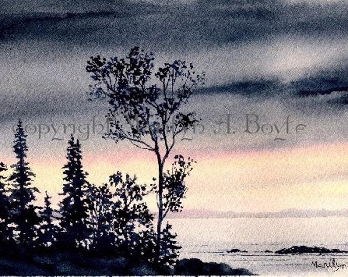 SMALL ORIGINAL WATERCOLOR; scene, lake, stormy skies, sunrise, wall art, 4.25 x 8.25 inches, miniature art, Canadian art, trees, watercoolor