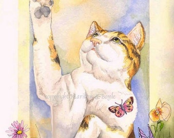 CAT and BUTTERFLY PRINT;  8 x 10 inch print, garden, flowers, playful cat in the garden, wall art, from an original watercolor of mine,