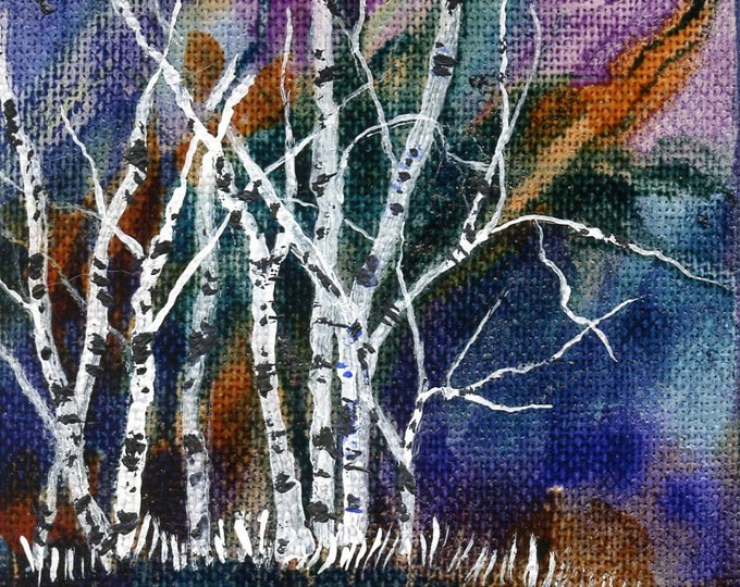 ORIGINAL MINIATURE ART; 3 X 3 inches, comes with an easel, acrylic, birches, paint pour background,