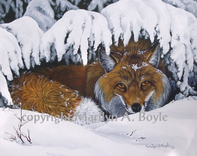 PRINT - RED FOX; print, wildlife, nature, winter, snow, fox, art, from an original acrylic painting, approximately 8 x 10 inches, wall art
