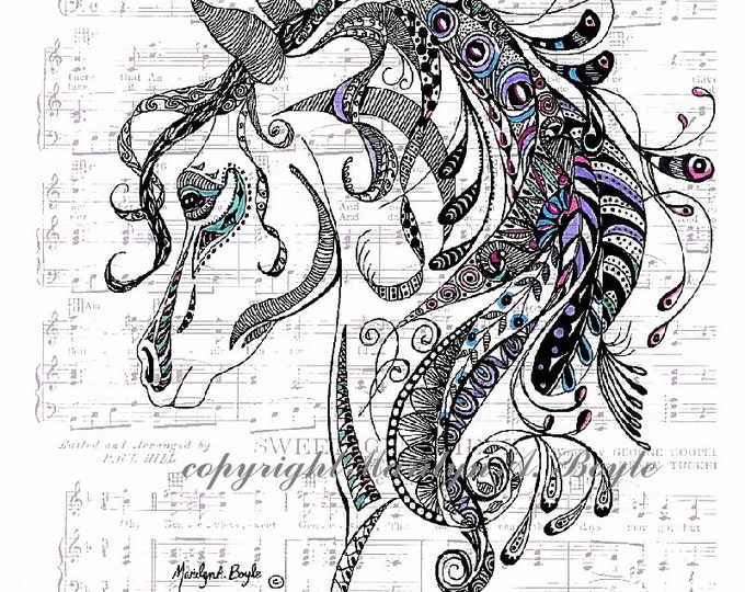 PRINT- ORIGINAL ZENTANGLE; subtly colored, music score background, horse, domestic animal, wall art, 8.5 x 11 inches, pen and ink