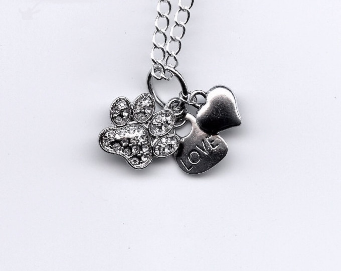 JEWELRY NECKLACE - PENDANT;pet charms, rhinestone pet paw, word love, silver heart, cat & dog owner, pet loss