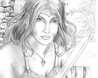 FANTASY- PRINT- DRAWING; Warrior Maid. sword, graphite, fantasy, woman, wall art, character portrait, avatar,