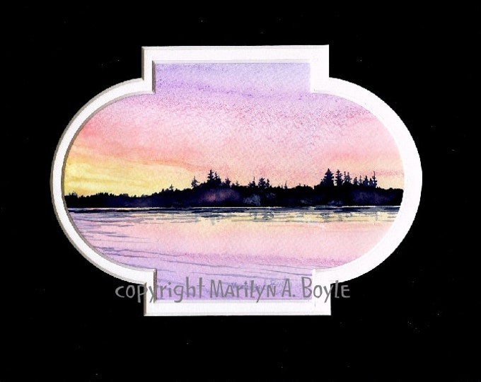 ORIGINAL WATERCOLOR PAINTING - matted in black, 7.50 x 10 inch, sunrise on lake, miniature art, wall art,