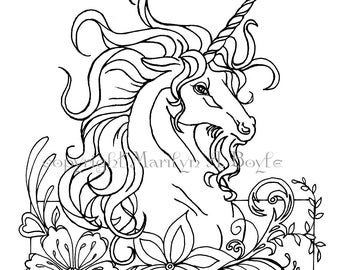 COLORING PAGE - UNICORN; fantasy, digital download, flowers, flourishes, pen and ink, from original art, for adult or older child