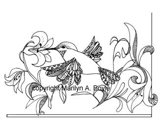 HUIMMINGBIRD COLORING PAGE; digital download, flowers, nature, bird, zentangle, adult coloring page,