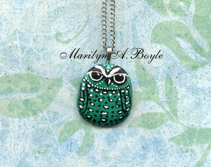 OWL PENDANT - HAND Painted; metallic green and white,Lake Superior stone, wearable art, jewelry, necklace, 16 inch chain, choker